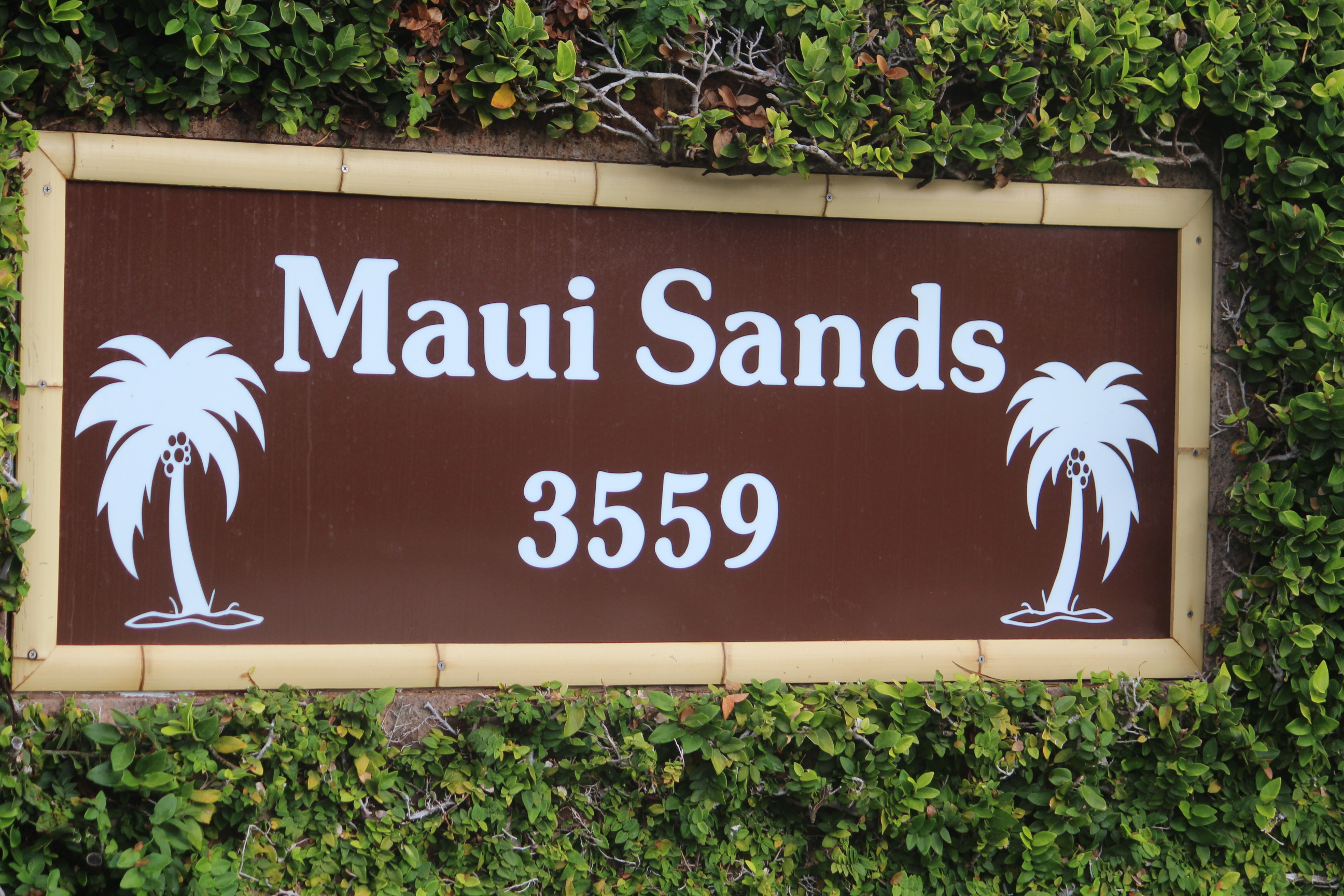 Image of the sign at the entrance to Maui Sands